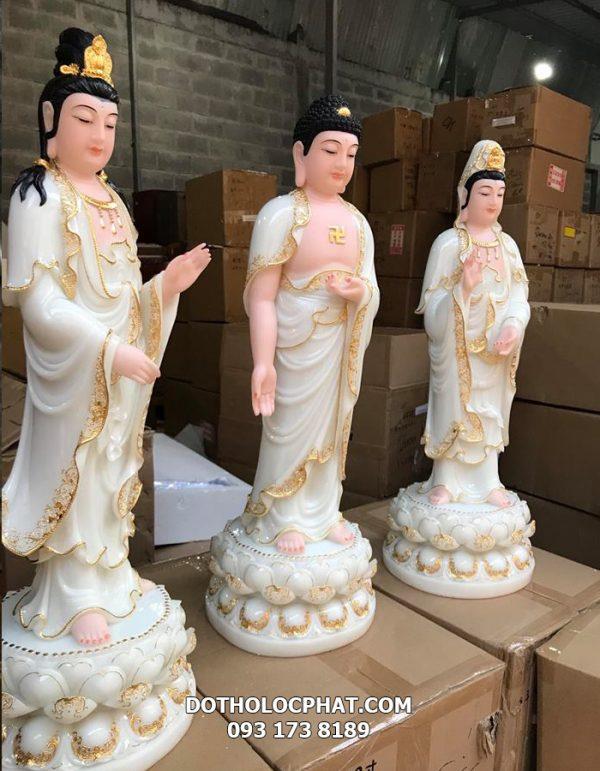 bộ tượng tây phương tam thánh trắng viền vàng nổi đẹp nhất sài gòn