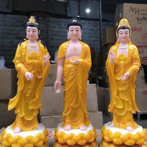 bộ tượng tây phương tam thánh màu vàng ngọc đẹp nhất