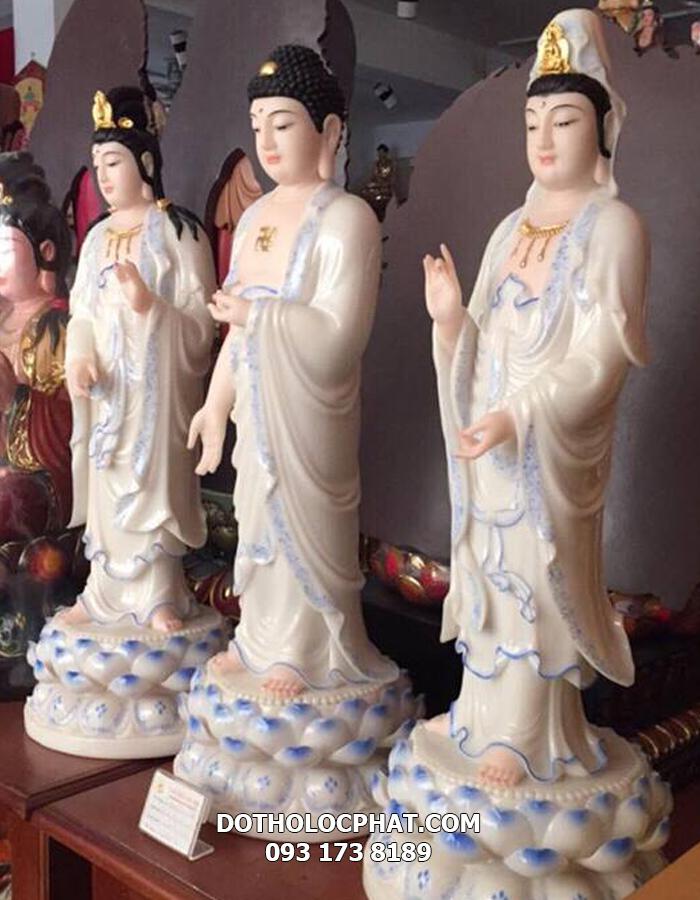 tượng tây phương tam thánh trắng viền xanh