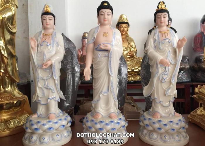 tượng tây phương tam thánh trắng viền xanh tại hcm