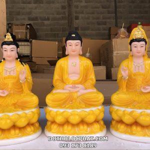 tượng tây phương tam thánh ngồi màu vàng hổ phách
