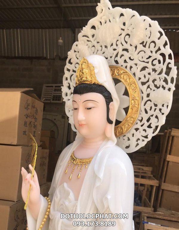 tượng mẹ quan âm trắng có hào quang đẹp