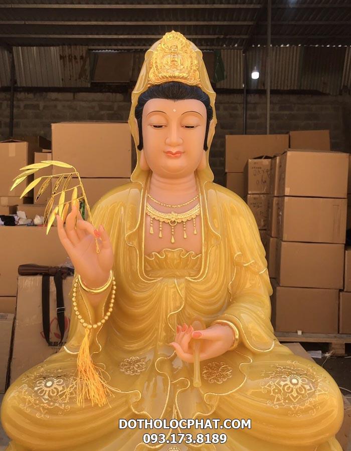 tượng quan âm màu vàng thạch anh đẹp tại hcm