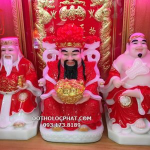 bộ 3 ông thần tiền thần tài ông địa màu đỏ đẹp nhất