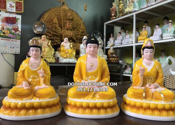 bộ tượng tây phương tam thánh màu vàng hổ phách đẹp nhất