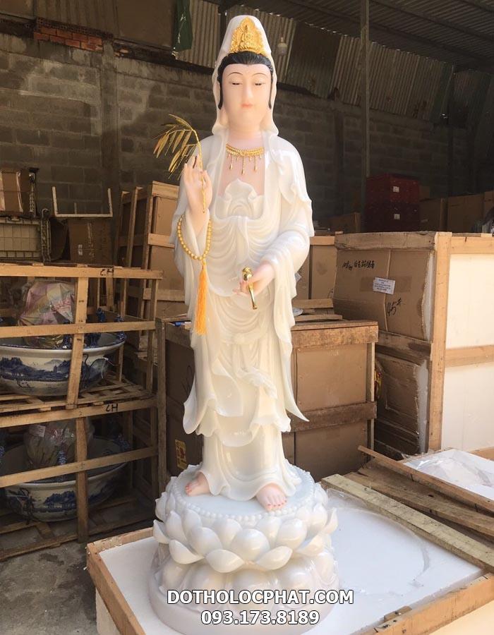 tượng phật bà quan âm bồ tát đứng màu trắng đẹp tại hcm