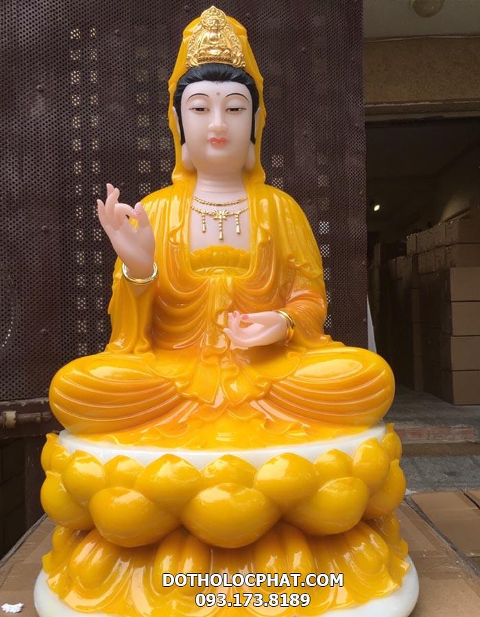 tượng Phật bà quan âm bồ tát màu vàng hổ phách đẹp