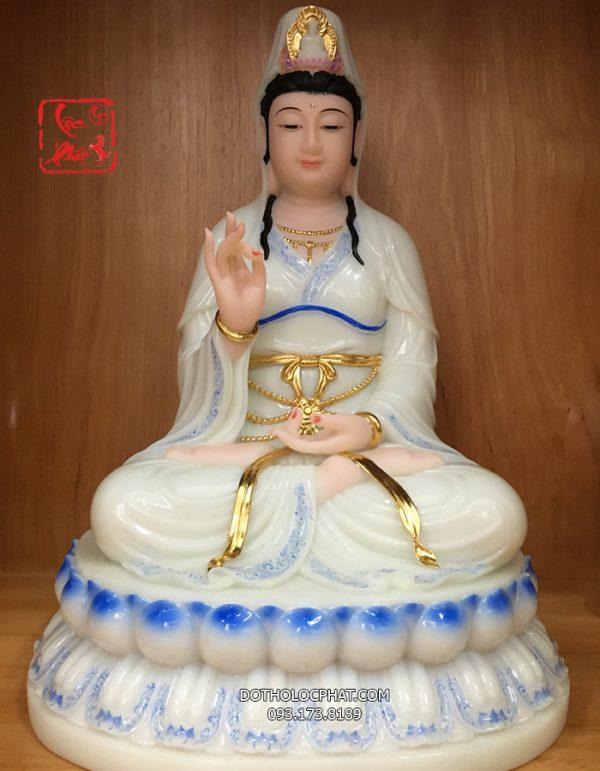 tượng quan âm trắng viền xanh đế sen đẹp tại hcm