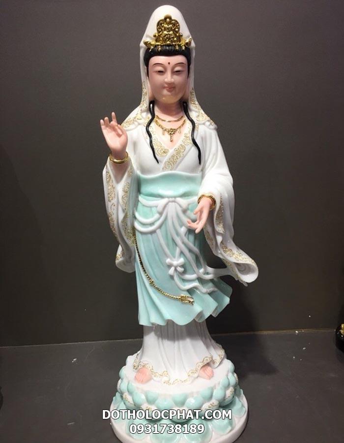 tượng quan thế âm bồ tát đứng trắng xanh viền vàng tại hcm