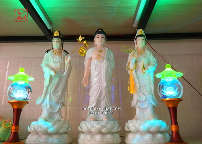 bộ tượng tây phương tam thánh đẹp màu trắng tại hcm