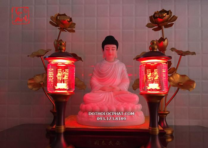 đèn trang trí bàn thờ phật có khắc chữ đẹp