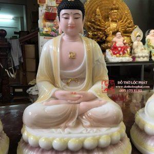 Đức Phật A Di Đà bằng bột đá màu ngọc cẩm thạch vàng