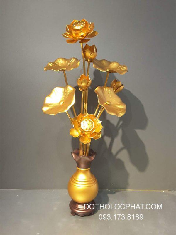Chậu hoa sen đồng thờ bàn Phật  9 bông cao 82cm