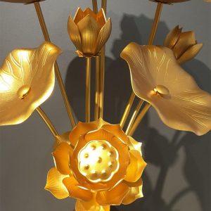 Lá sen và hoa sen đồng thờ bàn Phật 9 bông cao 82cm