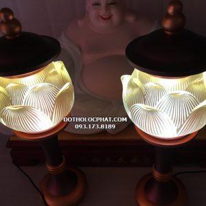 cặp đèn hoa sen lưu ly nắp ô hợp kim trang trí bàn thờ phật đẹp