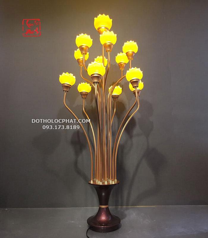 đèn trang trí bàn thờ phật 13 bông lưu ly đẹp tại hcm