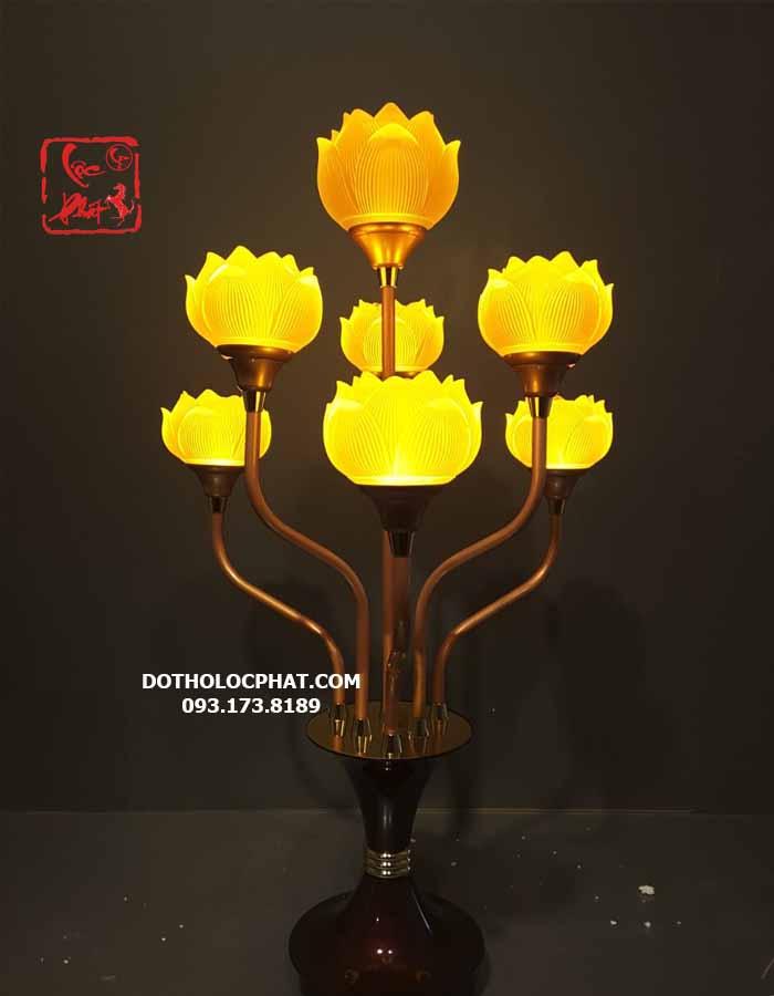 Đèn trang trí bàn thờ Phật 7 bông lưu ly