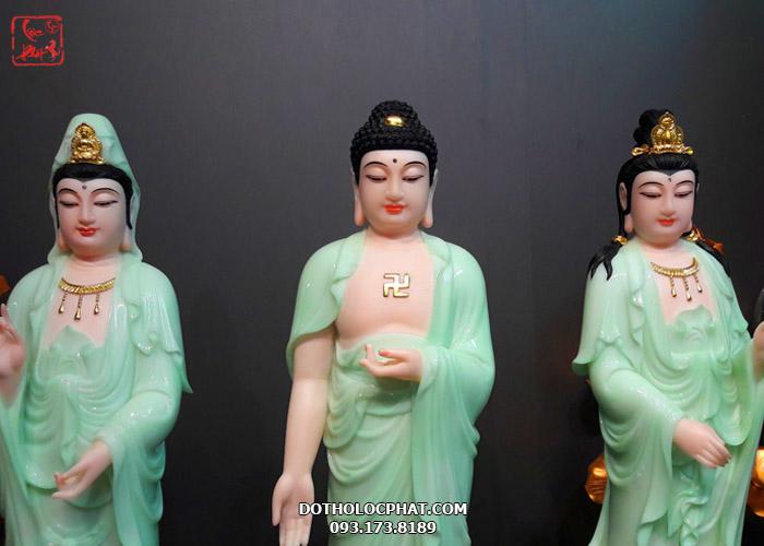 tượng tây phương tam thánh xanh ngọc cao 68cm