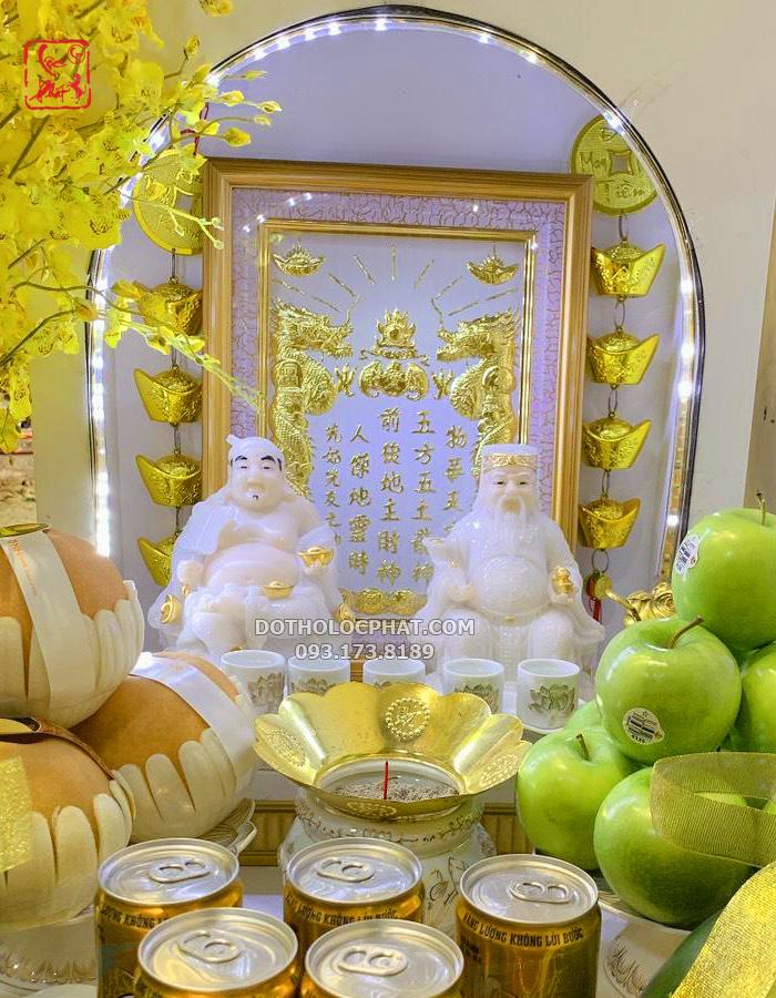 bài vị thần tài trắng cho bàn thờ thần tài đá trắng