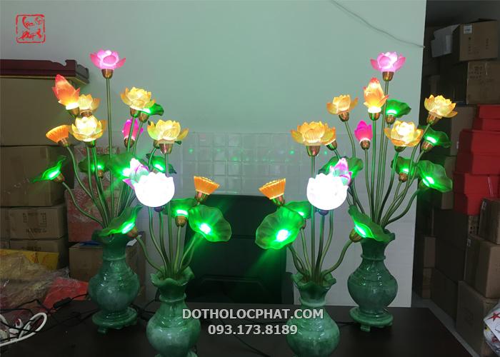 đèn thờ cúng phong thủy bình ngọc 13 bông đẹp nhất