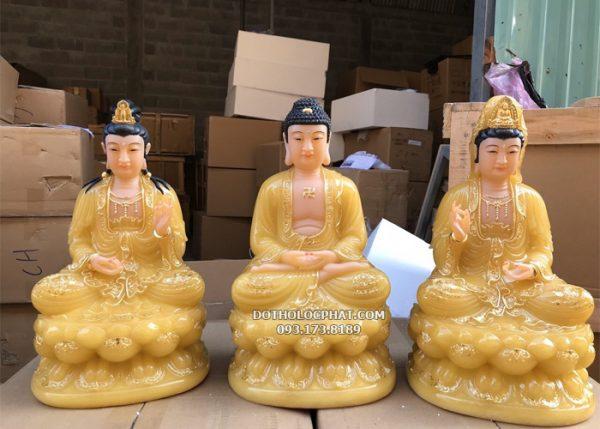 tượng tây phương tam thánh vàng thạch anh đẹp tại hcm
