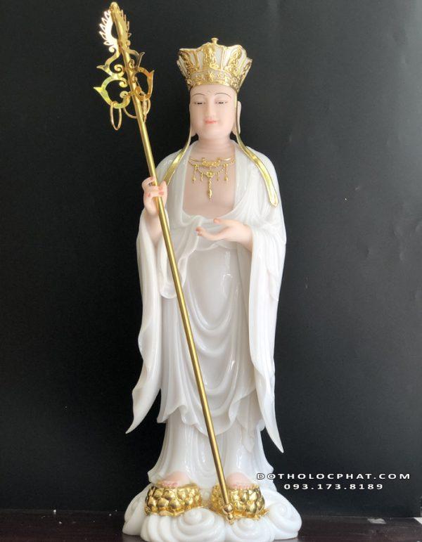 tượng địa tạng vương bồ tát bằng đá trắng đẹp