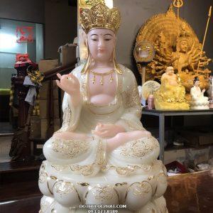 tượng địa tạng vương bồ tát trắng ngọc viền vàng đẹp