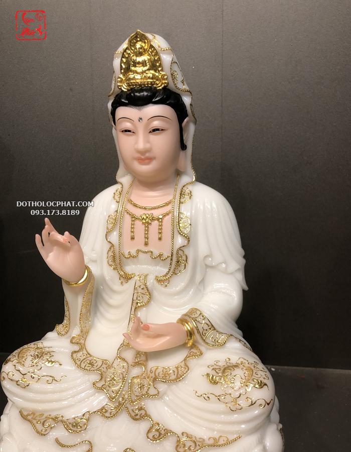 tượng phật bà quan âm bồ tát trắng viền vàng đẹp
