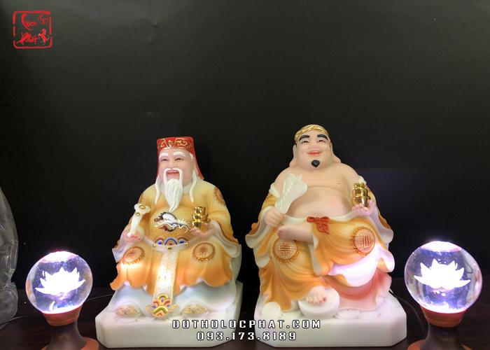 tượng ông địa thần tài bằng đá vẽ gấm vàng đẹp