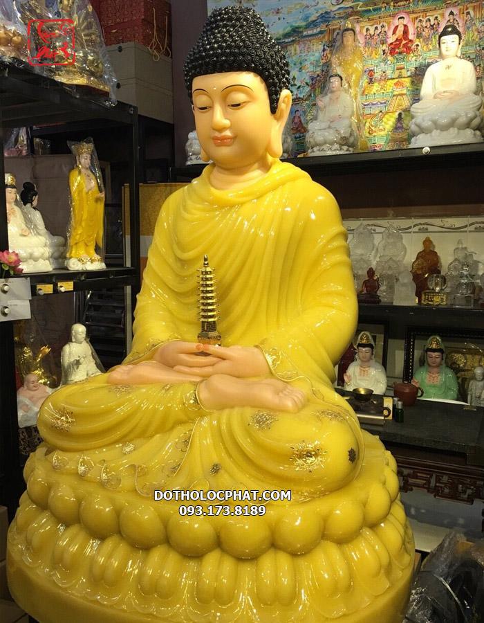 Tượng phật dược sư bằng đá thạch anh màu vàng đẹp nhất