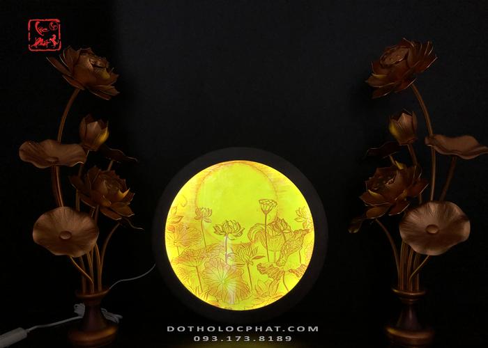hào quang sen trăng đẹp thờ phật