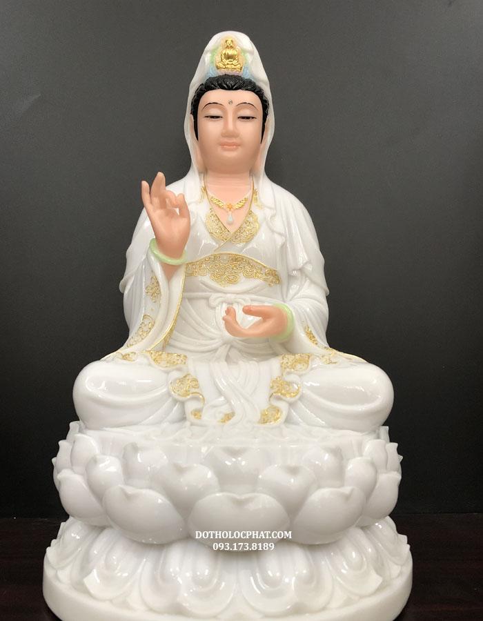 <center>tượng phật bà quan thế âm bồ tát trắng viền vàng đẹp</center>
