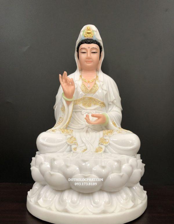 tượng phật bà quan thế âm bồ tát trắng viền vàng đẹp