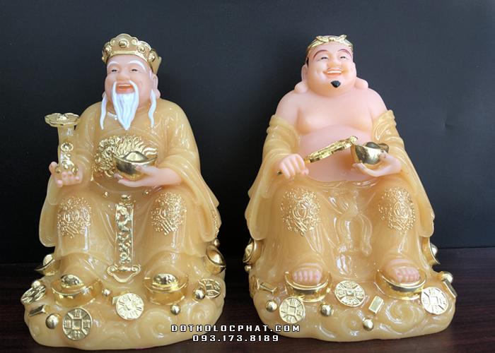 tượng ông địa thần tài bằng bột đá thạch anh vàng ngọc đẹp