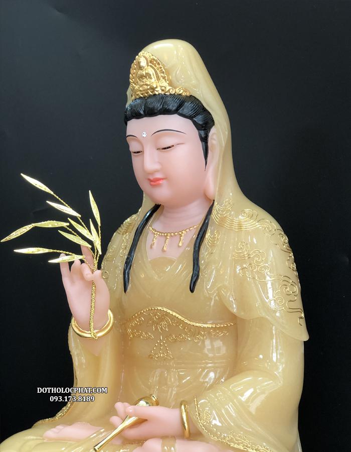 tượng phật bà quan âm màu vàng thạch anh đẹp cao 40cm