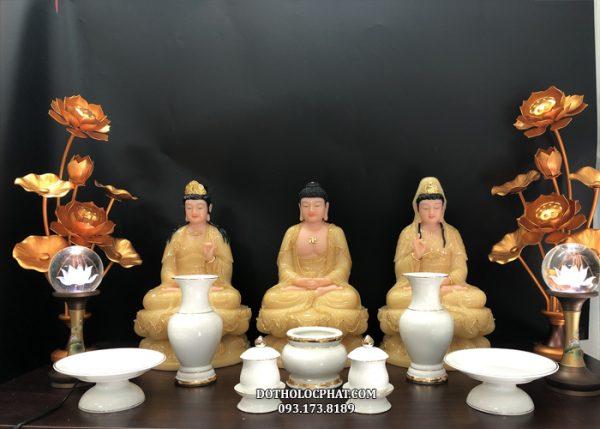 bộ tượng tây phương tam thánh ngồi thạch anh đẹp cao 40cm