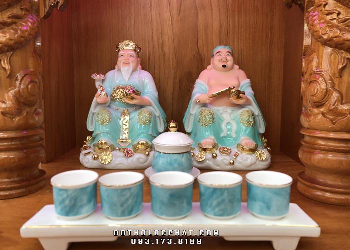 trọn bộ bàn thờ ông địa thần tài bằng đá xanh viền vàng đẹp