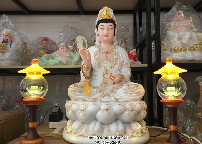 tượng mẹ quan âm trắng viền vàng cao 68cm đẹp