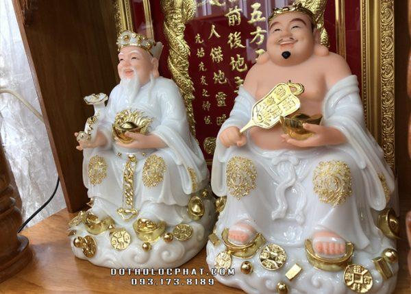 tượng ông địa bằng đá màu trắng viền vàng đẹp