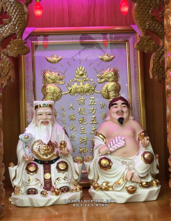 tượng ông địa thần tài bằng sứ trắng viền vàng đẹp