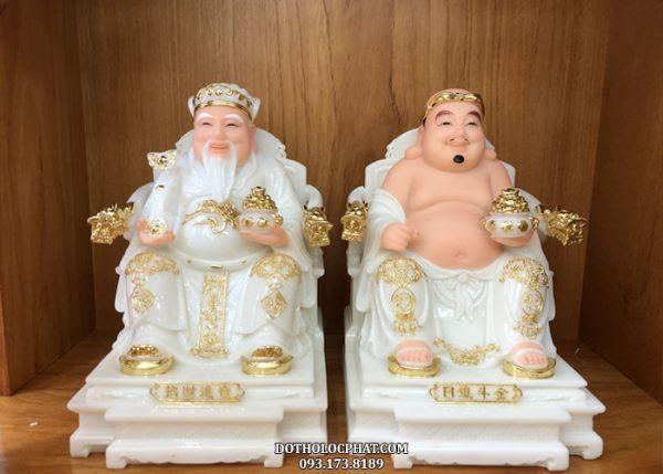 tượng ông địa thần tài trắng viền vàng tay rồng đẹp