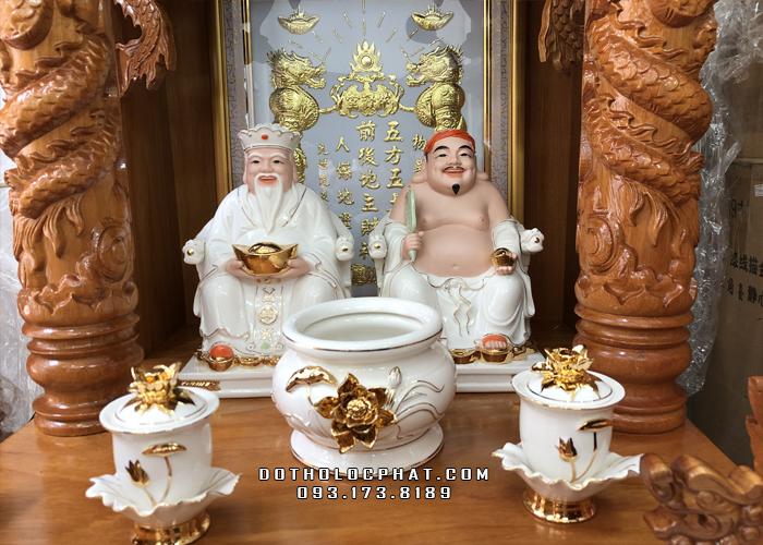tượng ông địa thần tài bằng sứ đức hóa trắng viền vàng đẹp