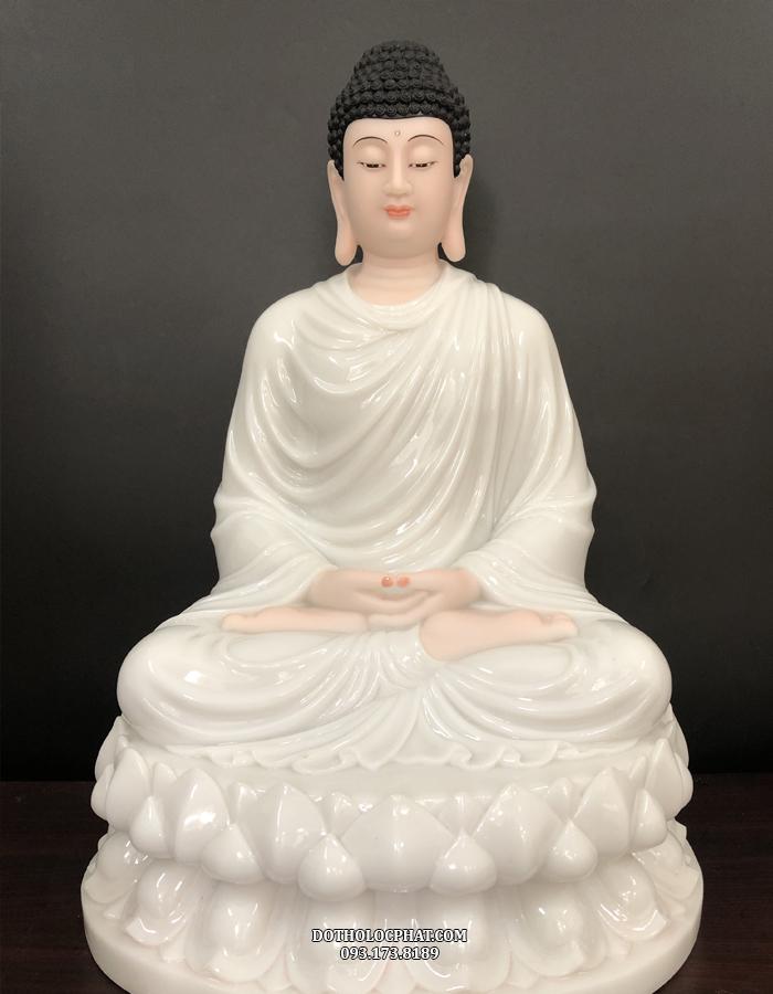 Tượng Phật Thíc ca đẹp, mắt nhìn xuống, tay bắt ấn ngồi trên đài sen