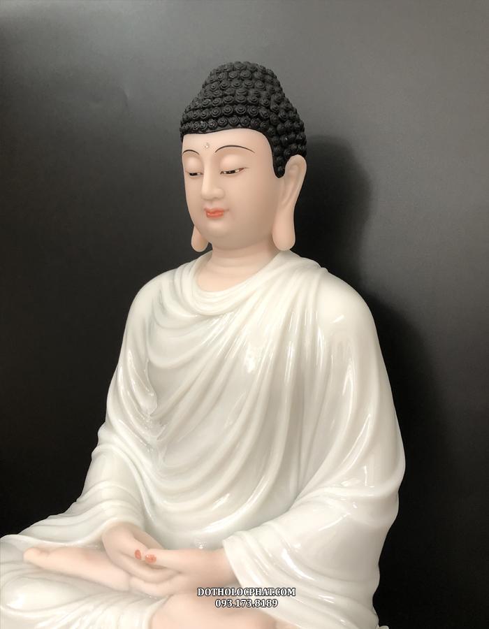 tượng phật thích ca mâu ni trắng cao 68cm đẹp