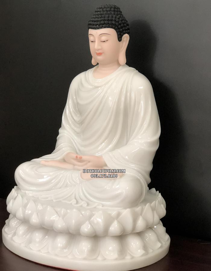 Mặt trái của tượng Phật Thích Ca Mâu Ni áo trắng cao 68cm diện đẹp, hoan hỉ