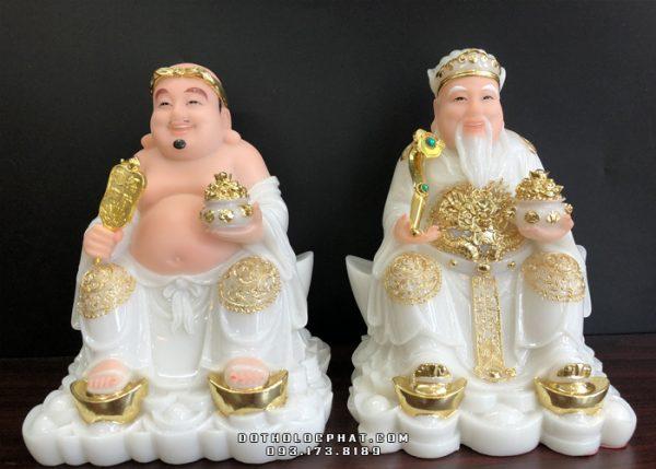 tượng ông địa thần tài bằng đá trắng viền vàng đế thỏi vàng