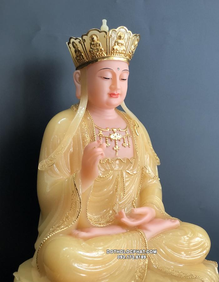 tượng địa tạng vương bồ tát ngồi bằng bột đá thạch anh viền vàng đẹp