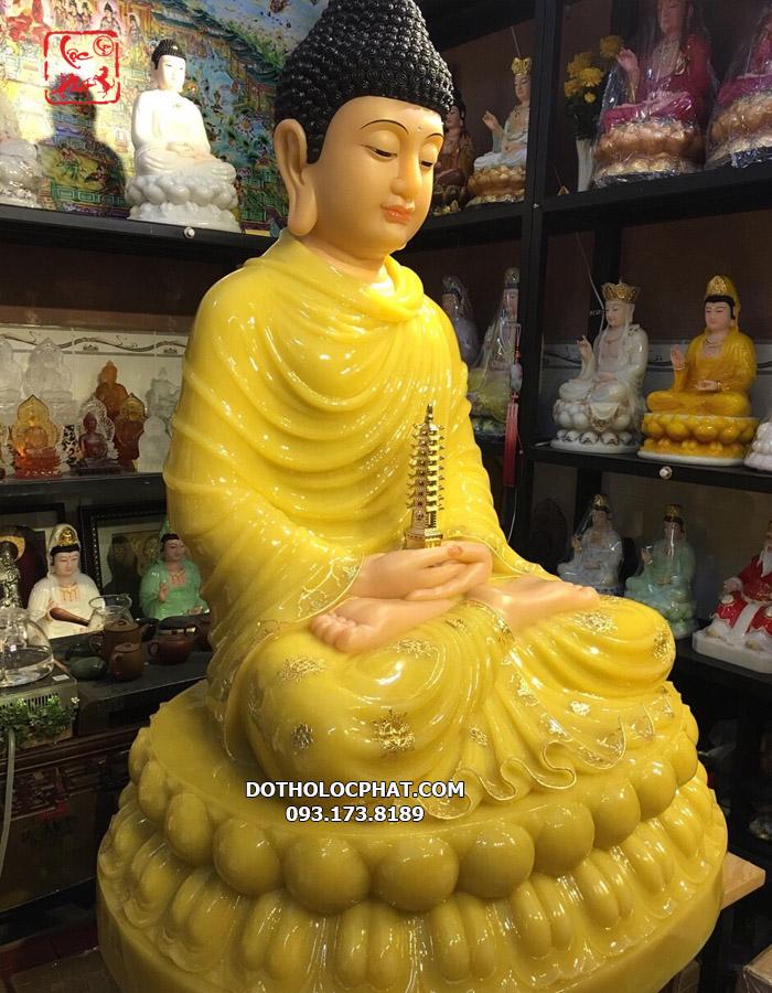 Tượng Phật Dược Sư bằng đá thạch anh viền vàng giá tốt