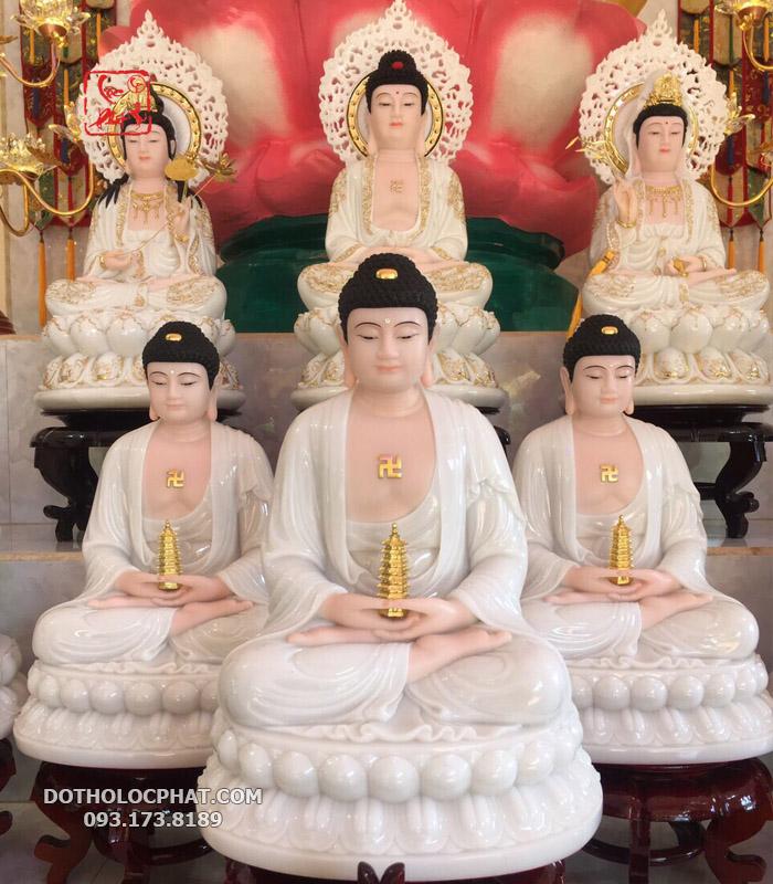 Tượng Phật Dược Sư tay cầm tháp 7 tầng đế to
