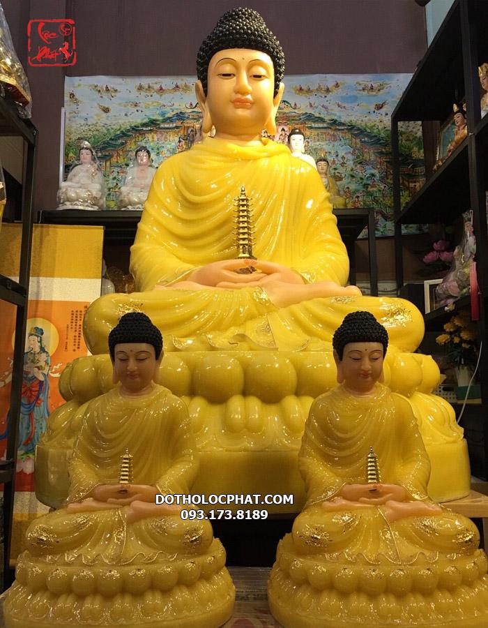 Tượng Phật Dược Sư bằng bột đá thạch anh viền vàng